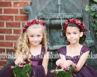 Plum Flower Girl Dress 6 7 8
