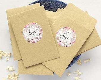 100 Let Love Grow Seed Envelopes with labels Kraft Manilla Envelopes Wedding Favor Envelopes Boho Seed Packets Wedding Decor 3.7/8x2.5/8