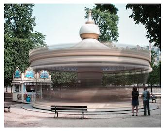 Photo Paris, Caroussel photo, Paris Jardin des Tuileries, Long exposure photo Paris, fine art photo Paris, Wall Art, Home Decor