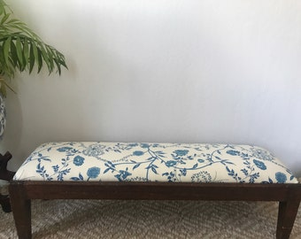 Vintage Brunschwig Fils Blue Floral Upholstered Low Bench