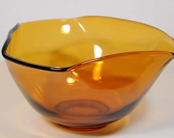 Three sided Indiana Glass amber bowl, chip bowl, fruit bowl, 3 sided bowl, retro bowl, amber salad bowl, retro decor