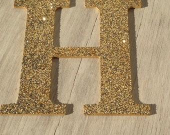 "9"" Decorative Gold Glitter Wall Letters, Wedding Decoration, Christmas Holiday Decor, Girls Bedroom Decor"