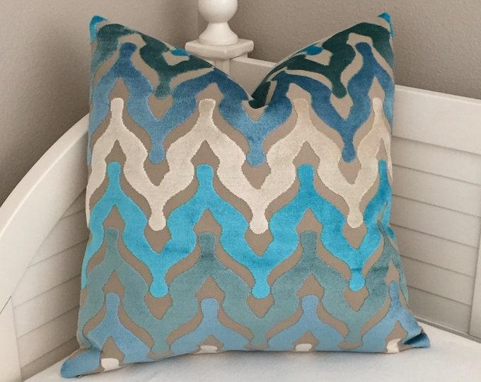 Turquoise, Aqua and Blue Designer Velvet Pillow Cover, Square, Lumbar and Euro Pillow Cover Sizes
