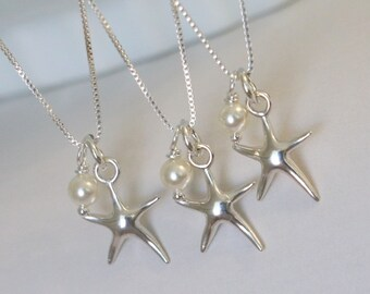 Beach Wedding Necklace, Sterling Silver Starfish and Ivory Pearl Necklace, Bridesmaid Jewelry, Bridesmaid Gfit