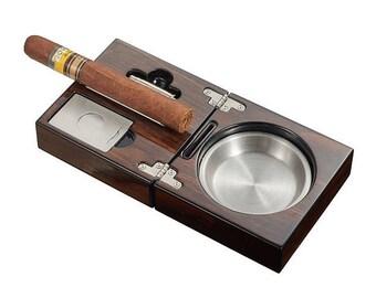 Personalized Cigar Set, Polished Walnut Travel Cigar Ashtray Kit, Groomsmen gift, Father's Day Birthday Anniversary, Retirement Gift VASH727