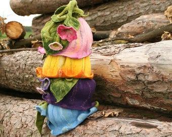 Bellflower felted hat - Bridesmaid Wedding Easter Fairy Flower Fantasy Floral Birthday Party Fancy Dress Hat Headpiece Headwear  - To Order