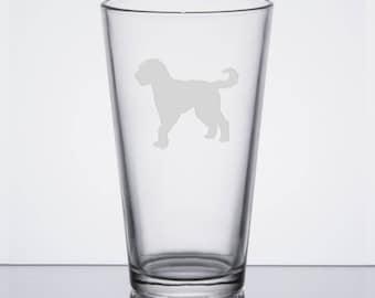 Golden Doodle Pint Glass, Golden Doodle Gift, Etched Beer Pint