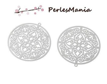PRINTS 10 35mm silver ARABESQUE pendant Platinum S1162682 stainless steel