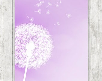 Dandelion art print, girls room decor, lavender nursery decor, light purple home decor, bedroom wall art - INSTANT DOWNLOAD