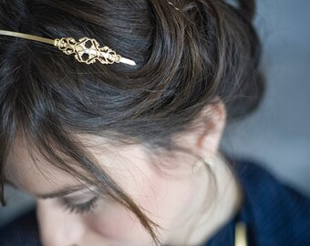 bridal headband, gold headband, deco headband, bridal headband, Vintage style headband, filigree gold headband, glass pearl headband, deco