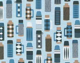 Burly Beavers Thermos Denim Cotton, navy and charcoal hipster lumberjack fabric