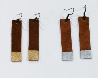 Brown suede leather rectangle dangle earrings with metallic silver or gold painted tips