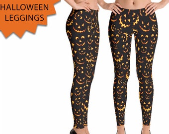 Pumpkin Carving Leggings - Pumpkin Leggings - Jack O' Lantern Leggings - Halloween Leggings -