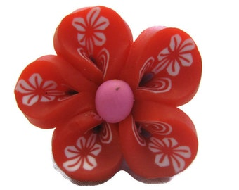 Red Polymer Clay Flowers 20mm Beads Set of 4