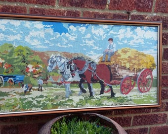 Vintage Tapestry Rural Farm Horse and Cart Hay Harvest