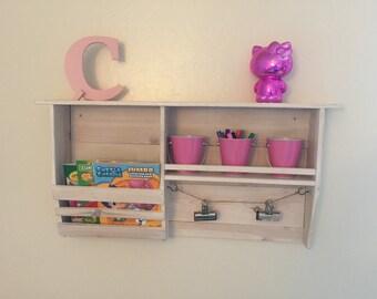 Handcrafted Rustic Wall-mounted magazine rack, organizer shelf.
