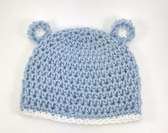 crochet baby bear hat, baby boy hat, crochet baby hat, bear hat, blue hat