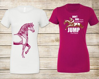 SALE! Equestrian T-Shirt Bundle: Jump Over Challenges Fitted T-Shirt (Berry) & Vintage Horse Relaxed Fit T-Shirt (Beige) - Size Large