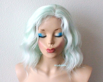 Pastel mint wig. Lace front wig. Beach waves hairstyle wig. Short wig. Durable heat friendly synthetic wig for daily use or Cosplay.