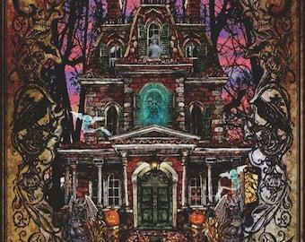 CROSS STITCH KIT , 'Fright Night by Lewis T.Johnson' Counted Cross Stitch, Halloween Cross Stitch, Haunted House Cross Stitch, Pumpkin