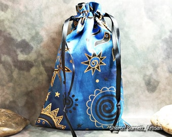 Celestial Drawstring Tarot Bag, Tarot Pouch, Oracle Card Bag, Rune Bag, Crystal Bag, Jewelry Pouch in Shades of Blue