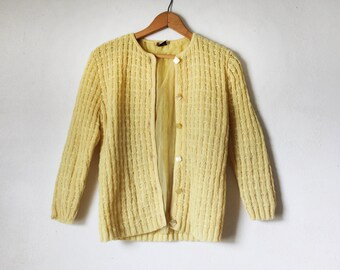 Vintage Yellow Knit Cardigan