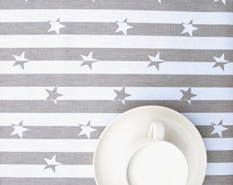 Tablecloth white beige brown stripes stars striped table cloth , table runner , napkins , pillows , curtains available, great GIFT