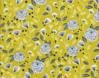 Dashwood Studios Flock Charcoal Flowers on Acid Green - Half Yard