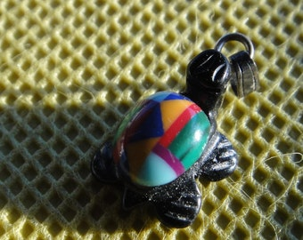 Turtle Jewelry- Onxy Inlaid Turtle Pendant Native American Inlaid Stones Turquoise Zuni Style Coral Malachite Spiny Oyster Turtle pendant