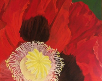 "Poppy Oil Painting, Flower Painting, Poppy, Red Flower, Amapola, Original Oil Painting - ""Amapola Roja"" (30"" x 48"")"