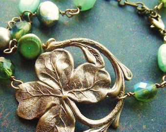 Four Leaf Clover Bracelet -Romantic, Irish, Scottish, Celtic, Wedding, Art Nouveau, Antique Style Good Luck Filigree