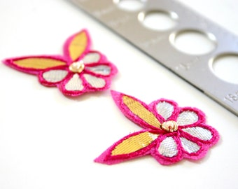 Silver Fuschia and Leafy Golds - Applique pair of flowers in silver and gold with Fuschia trim (2)