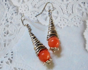 Peach and Silver Earrings (2645)