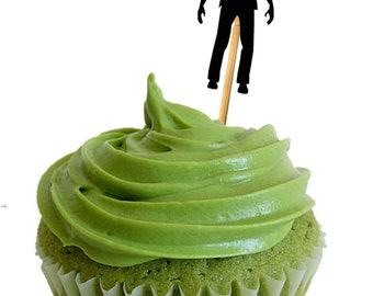 Zombie Party,  Zombie Cupcake Toppers - Set of 12, Kit , Party Decoration - Zombies - party decor -food picks