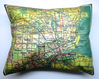 Metro Detroit Michigan Pillow Cover with Pillow Insert