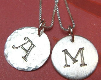 Initial Necklace - CALLIE Storybook Stamped Sterling Silver Initial Charm Necklace