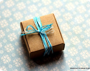Kraft brown cardboard boxes Set of 10 for dragees, jewels, gifts, advent calendar 5.5 x 5.5 x 2.5cm