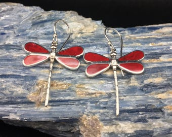 Dragonfly Earrings // 925 Sterling Silver // Red Dragonfly Earrings // Bali Dragonfly Earrings