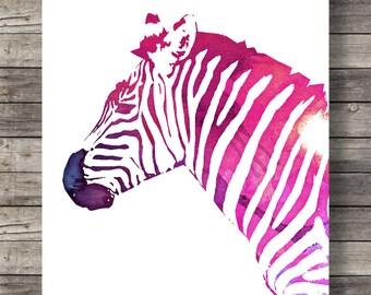 Zebra Watercolor Rainbow   printable Zebra poster    Printable wall art  16x20 / 8x10
