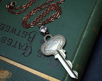 Vintage Key and 1940s Crystal Necklace with Antique Copper Chain Steampunk Upcycled Repurposed Jewelry