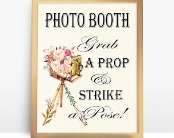 Retro Photo Camera, Vintage Wedding Photo booth sign, Printable floral wedding sign, wedding decor DIY decoration digital files - PF-18