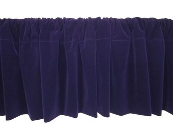 Designer 1 piece Solid Purple Custom Made Width Modern Home Decor Rod Pocket Top Curtain Topper Velvet Window Treatment Valance Panel Drapes