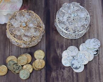 NEW!!! Gold or Silver Wedding Arras, Arras de Boda, Unity Coins, Treasurer Chest Wedding Arras, Silver Wedding Arras, 13 wedding Unity Coins