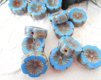 2 flower 14 mm blue and gray-green Czech glass flower beads.