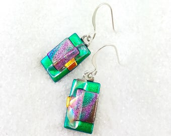 Dichroic Emerald green earrings, fused glass, dichroic glass, fused glass art, dichroic glass beads, fusion glass, trending jewelry,handmade
