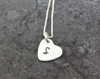 Tiny Heart Initial Necklace - Hand Stamped Inital Heart Necklace - Dainty Initial Heart Necklace
