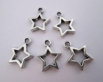 5 breloque étoile en métal argenté 15 x 12mm