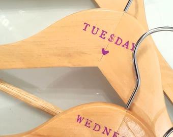 7 Personalised day of the week hangers