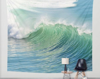 Waves Tapestry, Nautical Tapestry, Coastal Large Wall Decor, Surf Photo Tapestry, Aqua Blue Green Tapestry, Nature Tapestry, Beach, Dorm