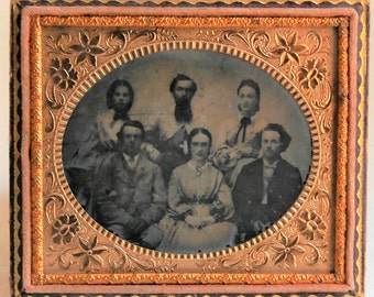 Antique Ambrotype Photograph of Family, Horizontal Photo with Fancy Floral Mat & Preserver, 1/6th Plate, Circa 1860's